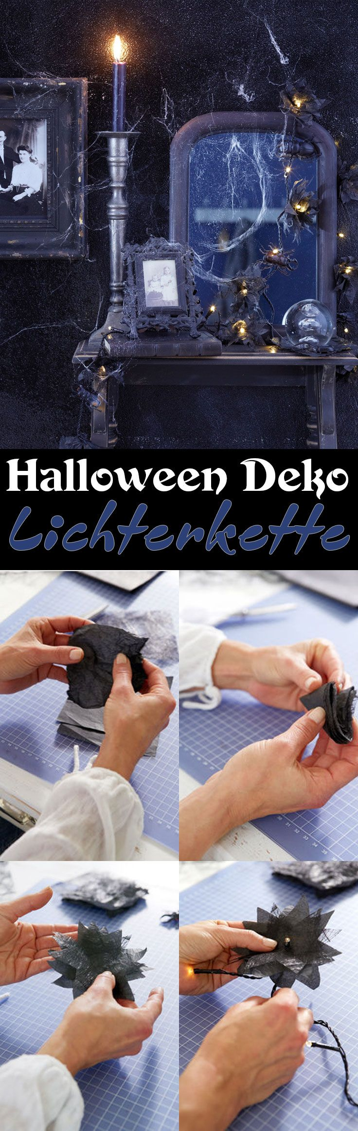 Gruselige Deko zu Halloween bedeutet auch immer ein Spiel mit Licht. Wir haben eine Lichterkette mit schwarzen Blüten und Käfern gebastelt, die deine Wohnung in ein kleines Gruselkabinett verwandelt und in das rechte Licht rückt.