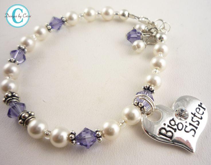 Purple Big Sister Swarovski Crystal & Pearl Bracelet
