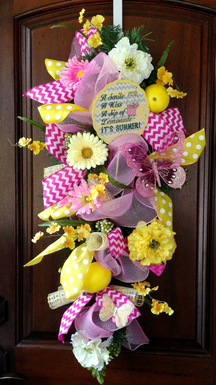 27 best wreaths art meets home by cindy farek images on for Colorful summer wreaths