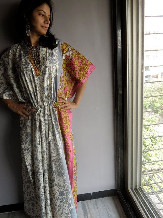 Grey Pink 60s and 70s Inspired Hostess Gown Kaftan - Best gift for her, dressing gown, lounge wear, beach cover up, vintage fashion dress