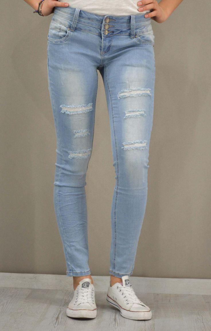 Γυναικείο τζίν skinny ξεβαμμένο PANT-5059 | Γυναίκα Jeans &