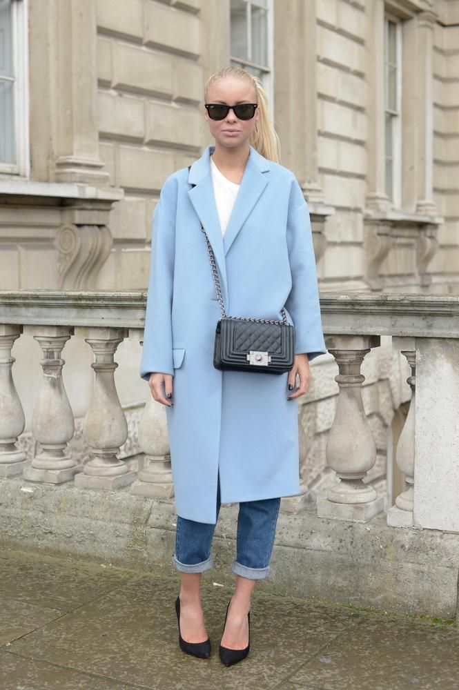 Blogger Victoria Tornegren wears a powder blue Jigsaw coat, with Whistles heels and Chanel bag (Picture: Kirstin Sinclair/Getty Images)