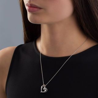 Unstoppable Love™ Diamond Accent Double Heart Necklace in Sterling Silver and 10K Rose Gold | Heart Necklaces | Necklaces | Zales