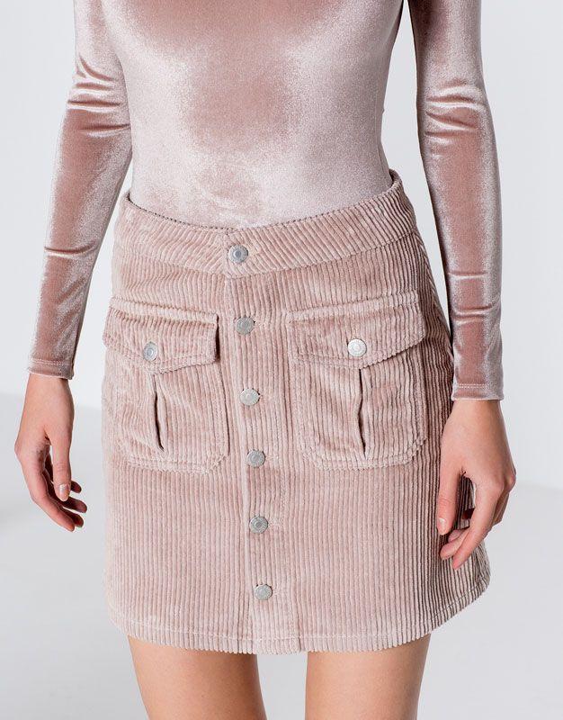 Pull&Bear - donna - novità - abbigliamento - gonna svasata fustagno - rosa - 09399337-I2016