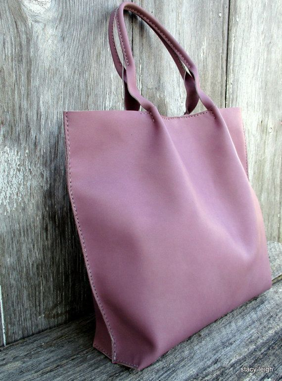 Lilac Leather Tote Bag by Stacy Leigh by stacyleigh on Etsy