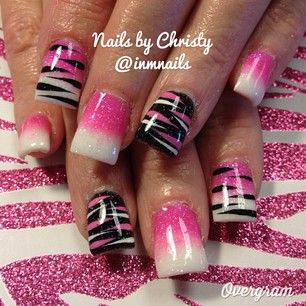 ♥ pink ombre and zebra
