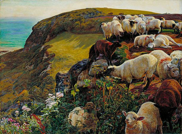 """Hunt, Our English Coasts (""""Strayed Sheep"""")   The Pre-Raphaelites and mid-Victorian art   Khan Academy"""