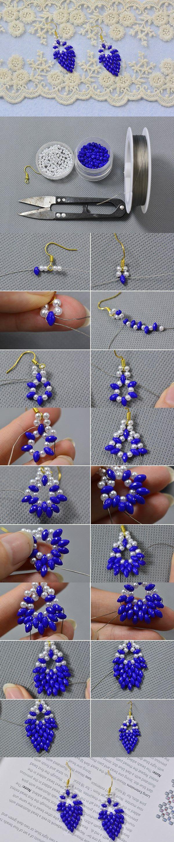 DIY Purple Bead Earrings with Seed Beads and Pearl Beads