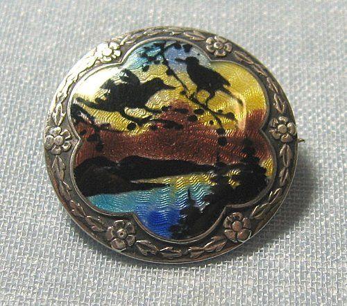 Vintage HC Ostrem Sterling Silver Enamel Pin