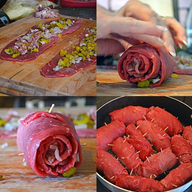Making German Rouladen. It is great with German warm potato salad