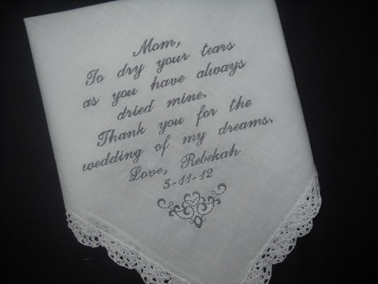 Mother Of The Bride Poem Wedding Handkerchiefs Gift For Mom Personalized Embroidered