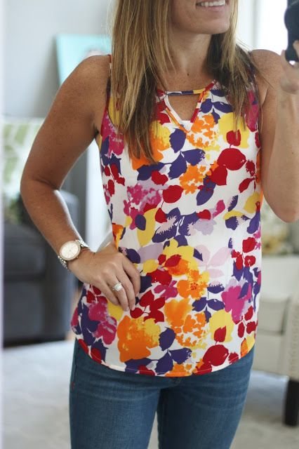 My Birthday Fix!  Stitch Fix Reveal July 2016 Pixley Hawn Mixed Material Top Bright Colorful Floral Tank
