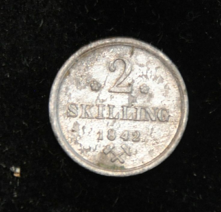 2 skilling coin from 1842