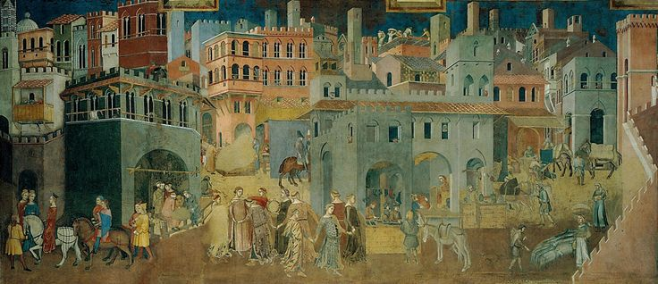Амброджо Лоренцетти. Плоды доброго правления. Фреска. 1337-1339. Палаццо Пубблико, Сиена.