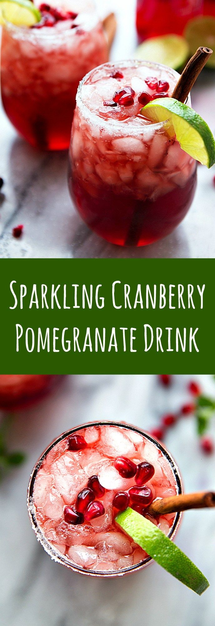 A non-alcoholic sparkling cranberry lime & pomegranate beverage -- perfect for holiday entertaining! #ad