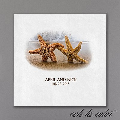 Have These Starfish Napkins At The Ready When It S Time For Your Destination Or Beach Wedding Reception Add Personalization Custom Style