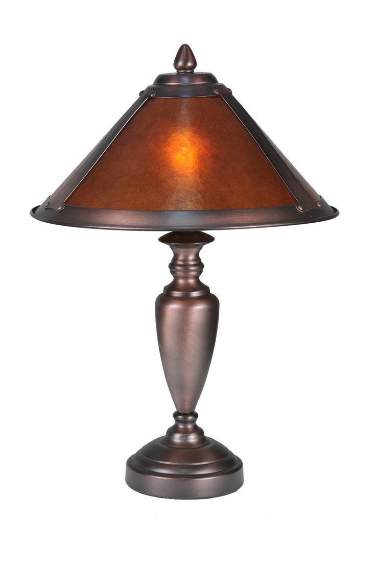 17 Inch H Van Erp Accent Lamp. 17 Inch H Van Erp Accent LampIn the tradition of American master craftsman DirkVan Erp, this appealing hand finished Mahogany Bronze frame glows with the warmth of the natural Amber Mica panels within. The shade is supported by an elegantlysimple lamp base in matching Mahogany Bronze finish. Theme:  RUSTIC LODGE VAN ERP SOUTHWEST Product Family:  Van Erp Product Type:  TABLE LAMPS Product Application:   Color:  AMBER MICA MAHOGANY Bulb Type:...
