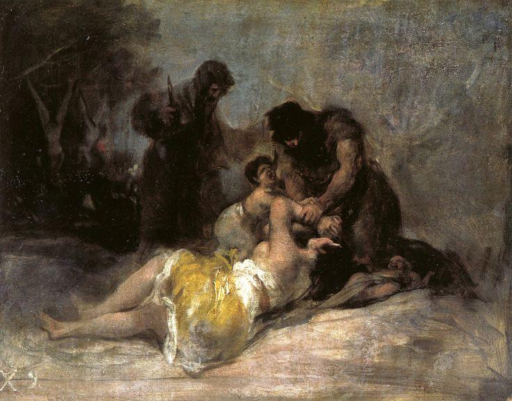 """Francisco de Goya: """"Escena de la violación y asesinato de una mujer"""". Oil on canvas, 30,5 x 39,8 cm, 1808-1812. Städel Museum, Frankfurt, Germany"""