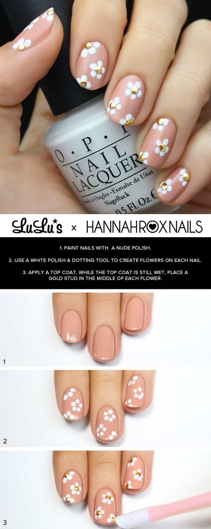 Flower nail art tutorial.