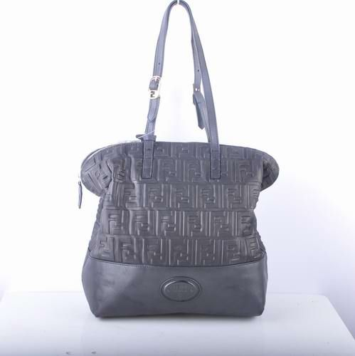 Fendi Black Embossed Leather Shopping Tote Bag         $209.00