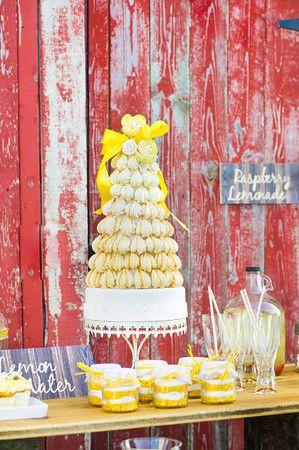 Lavish Dulhan South Asian bridal magazine; macaroon cake with rustic accents. Barn wedding.