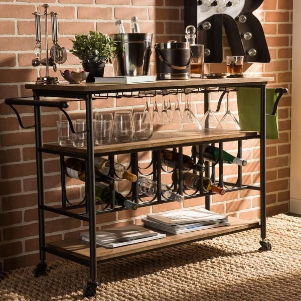 Baxton Studio Bradford Black And Medium Brown Wine Cart With Wine Glass Storage 28862 6649 Hd The H In 2020 Rustic Industrial Kitchen Bar Furniture Kitchen Furniture