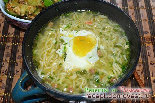 Корейская лапша с яйцом пашот