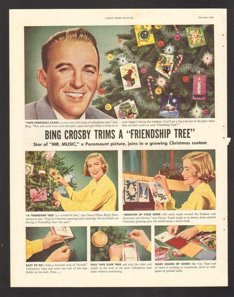 1950 Print Advertisement Scotch Cellophane Tape Bing Crosby Christmas Friendship…