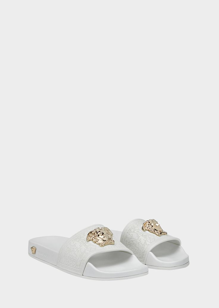Versace Medusa Head Mules for Women | US Online Store. Medusa Head Mules from Versace Women's Collection. Open toe, flat heel mules with Medusa Head central plaque.