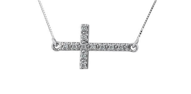 10K white gold cross pendant set with 0.10 carat in diamonds - $279.00 #PoagWishList