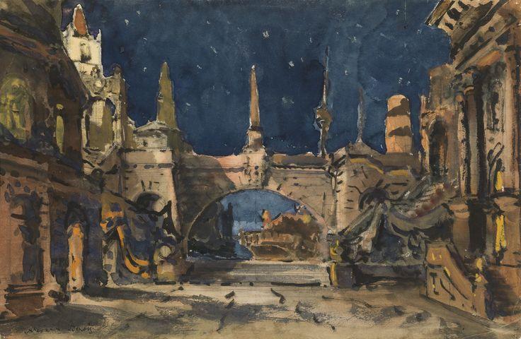Alexandre Benois (Russian, 1870-1960)    Set Design for the Jacques Ibert Ballet «Diane de Poitiers», 1931    Pencil, ink, watercolour and gouache on paper, 30 x 46.5 cm
