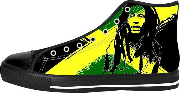Feeling sunny Rasta, green - jamaica flag, reggae music black high tops design. - Item printed by RageOn.com, also available at casemiroarts.com