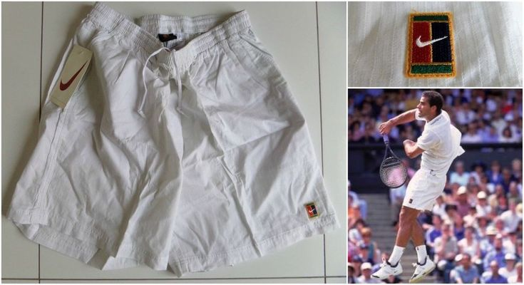 Vintage Nike Supreme Court Tennis Shorts White Sampras Agassi Federer Retro RARE #Nike