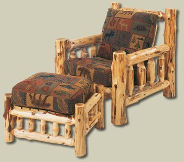 Cedar Log Furniture Plans | Cedar Log Chair and Ottoman