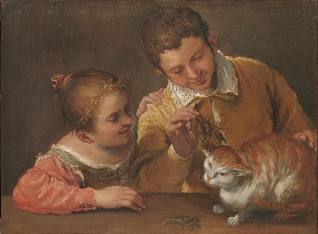 Annibale Carracci, Two kids harass a cat, 1588