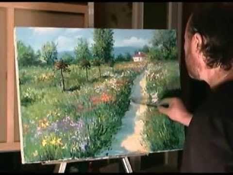 Как рисовать лес, поле, природу, деревню Мастихином Маслом Смешанная техника Сахаров Игорь