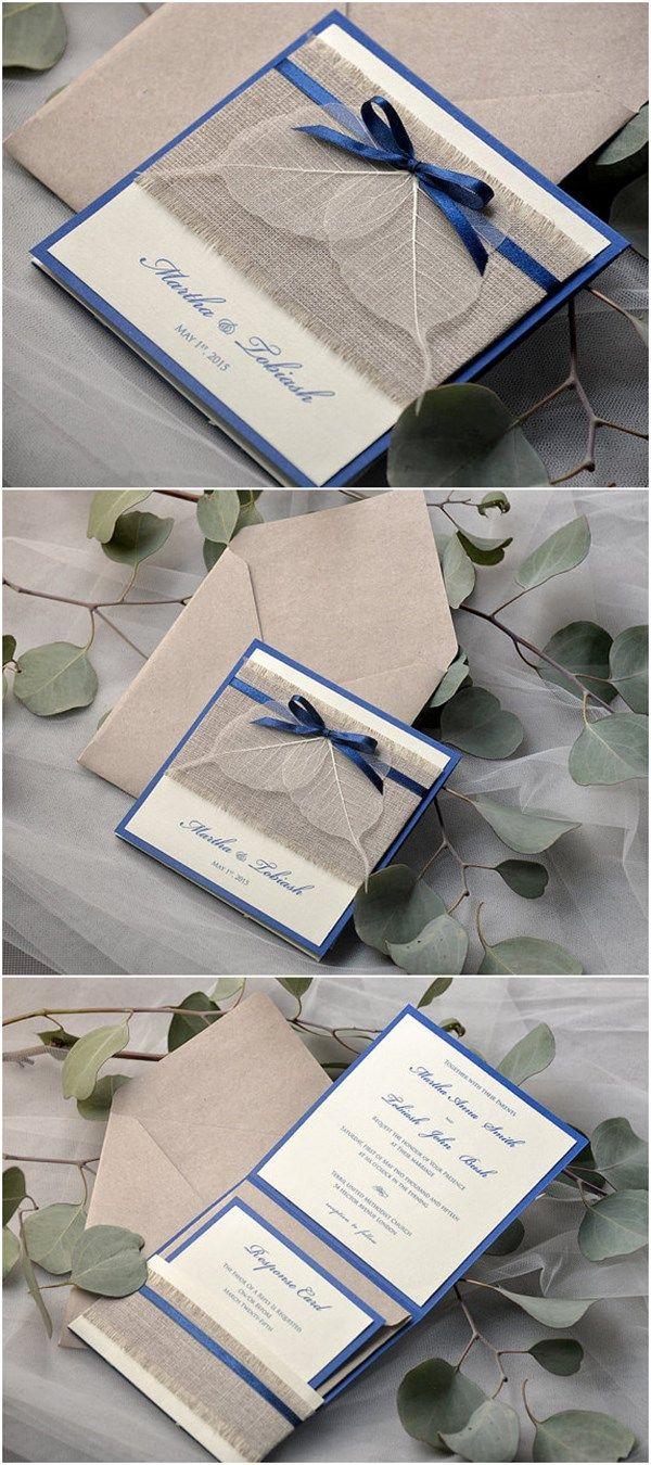 Navy Eco Linen Pocket Fold Burlap Wedding Invites - Deer Pearl Flowers