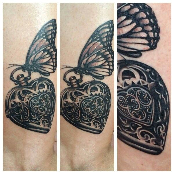 My favorite tattoo i worked on, heart locket and butterfly tattoo
