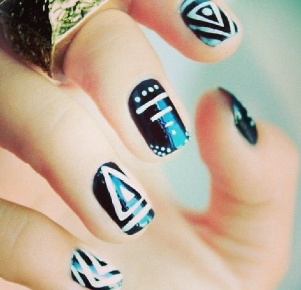126 best nails images on pinterest beauty trends and bags black and white tribal nail art 80 simple nail art designs for short nails prinsesfo Image collections