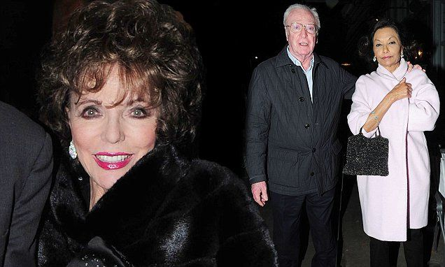 Long-time pals Joan Collins and Michael Caine enjoy double date night