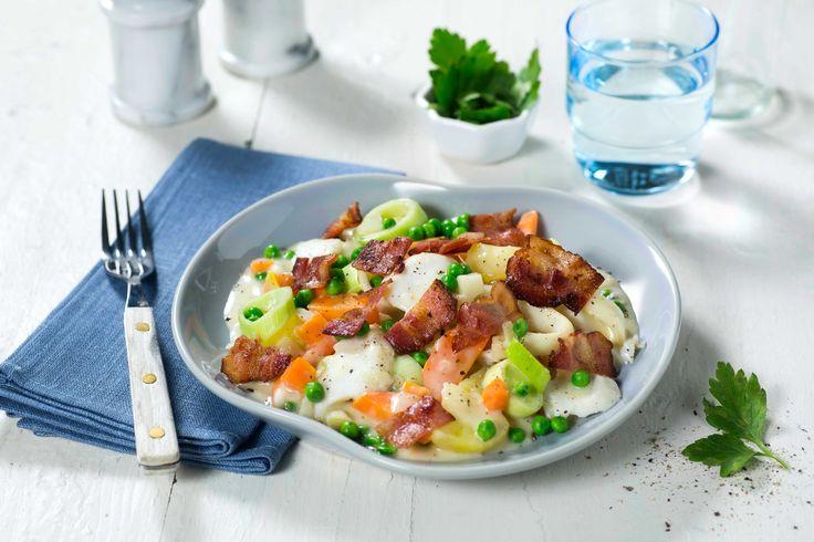Plukkfisk er perfekt restemat der du får brukt både fiskerester og ekstra kokte poteter. Med bacon og en god base, er dette mettende middag i en fei.