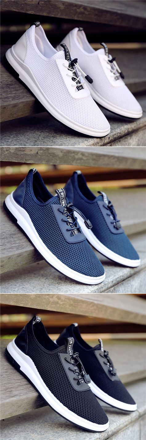Men Mesh Lace Up Breathable Sport Walking Casual Shoes