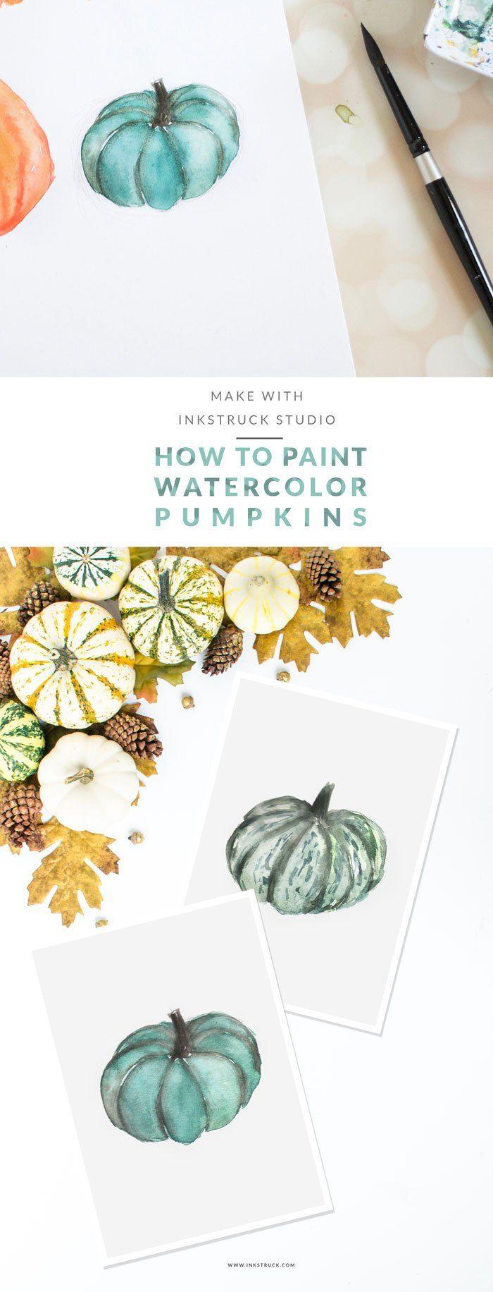 Watercolor pumpkin tutorial | Inkstruck Studio