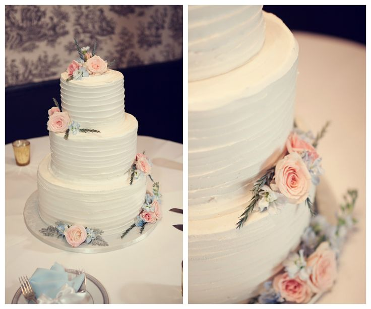 Pastel Light Blue and Pink Wedding Cake | Round White Textured Wedding Cake