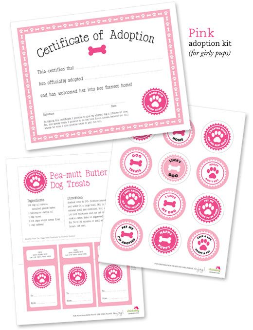 Free printable dog adoption kit in pink or blue! This sweet set includes a certificate of adoption, printable circles, a dog treat recipe, and treat bag tags.