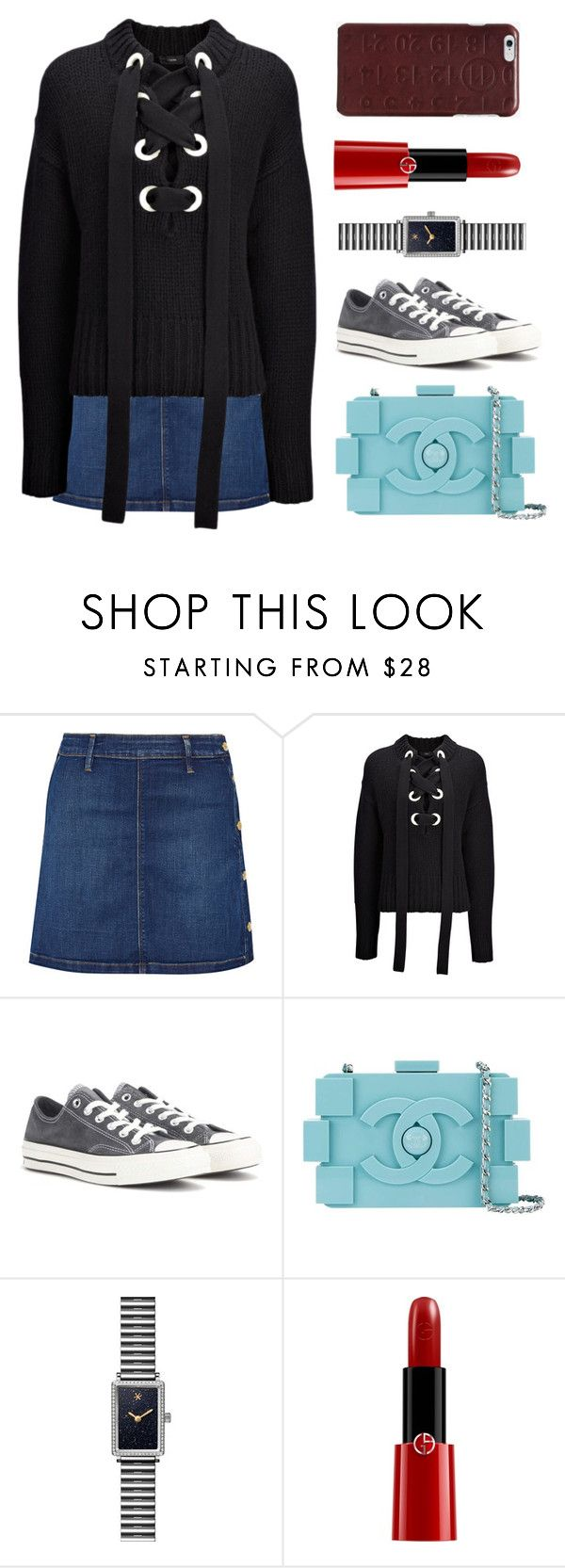 """Untitled #2484"" by claireyim ❤ liked on Polyvore featuring Frame, Joseph, Converse, Chanel, Gomelsky, Giorgio Armani and Maison Margiela"