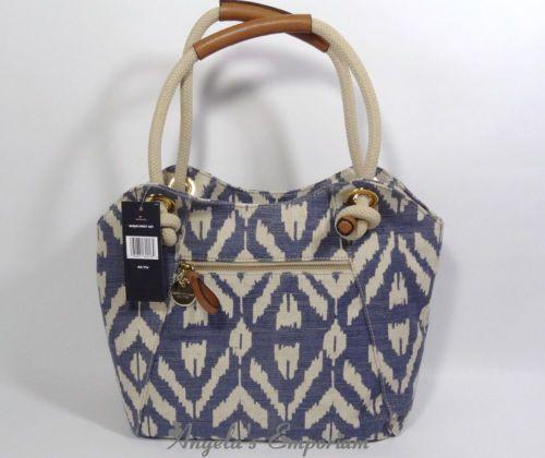 TOMMY HILFIGER Ikat Linen Tote Shopper Shoulder Bag Indigo Blue - ebay