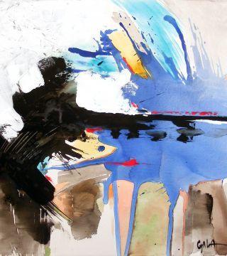 Абстрактный-синий, 27,5x33,4in.  (70x85cm), акрил на холсте