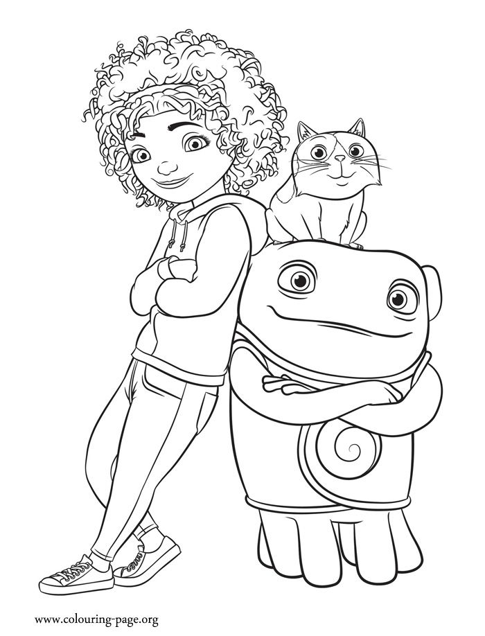 in this picture are the characters tip pig and oh from home movie what kids colouringkids coloring pagescoloring sheetsadult coloringdreamworks disney - Disney Movies Coloring Pages
