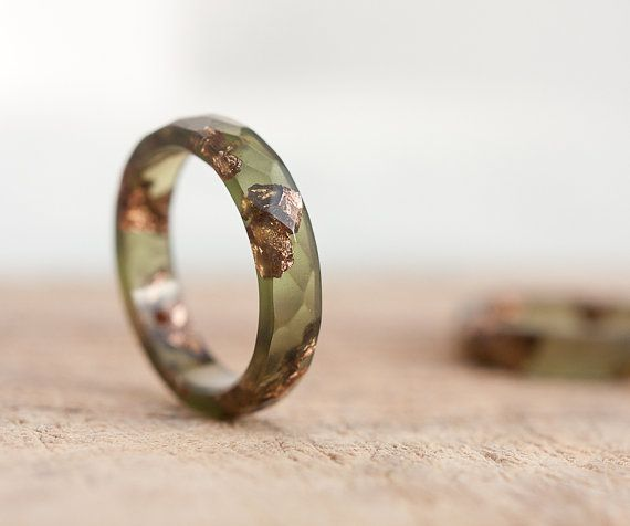 Stacking Resin Ring Deep Lichen Olive Green with Rose Gold Flakes Faceted Ring OOAK khaki minimal chic minimalist jewelry